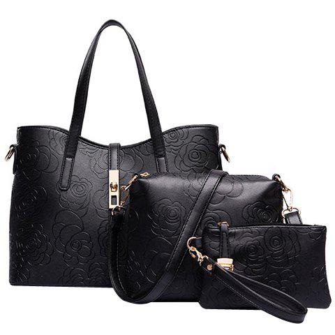Graceful Embossing and Hasp Design Shoulder Bag For Women - BLACK