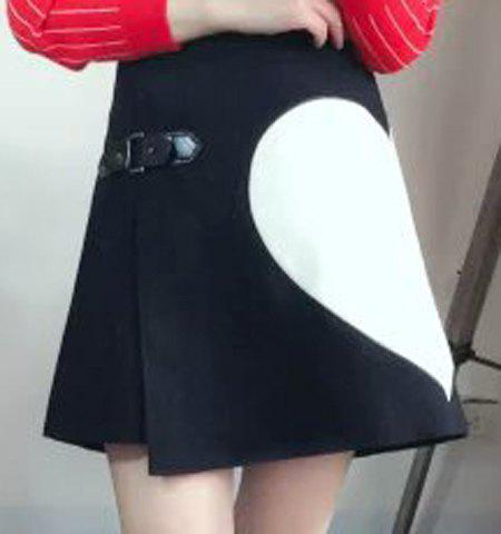 Stylish Women's Heart A-Line Worsted Skirt