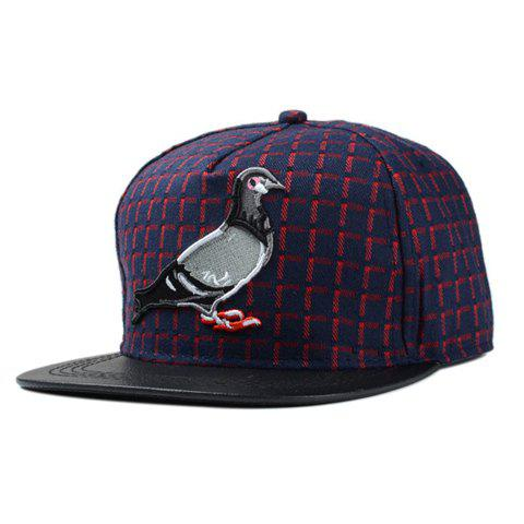 Chic Pigeon Embroidery Gingham Pattern Women's Baseball Cap - RED