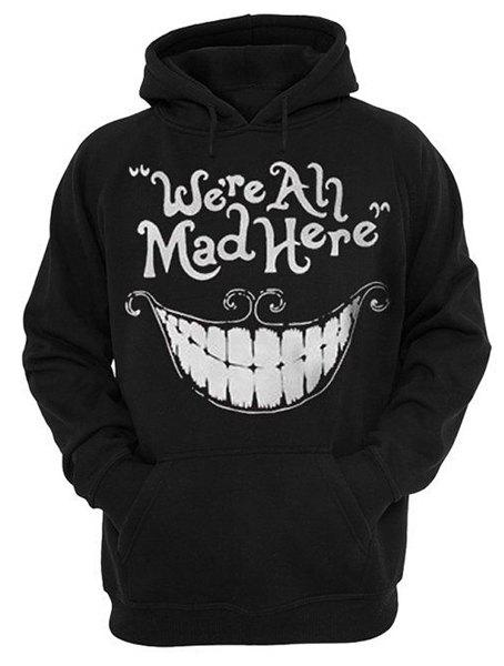 Front Pocket 3D Smiling Face Letters Print Drawstring Hooded Long Sleeves Men's Loose Fit Hoodie - BLACK L