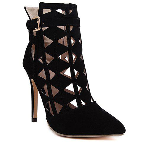 Sexy Pointed Toe and Hollow Out Design Short Boots For Women - BLACK 39