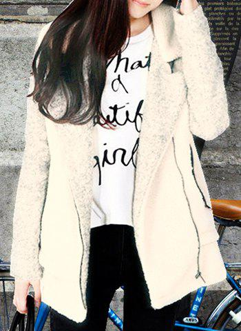 Chic Turn-Down Collar Long Sleeve Color Spliced Zippered Women's Coat