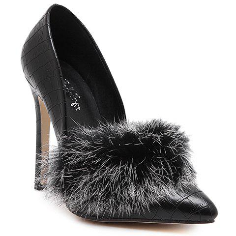 Trendy Faux Fur and Embossing Design Pumps For Women - BLACK 40