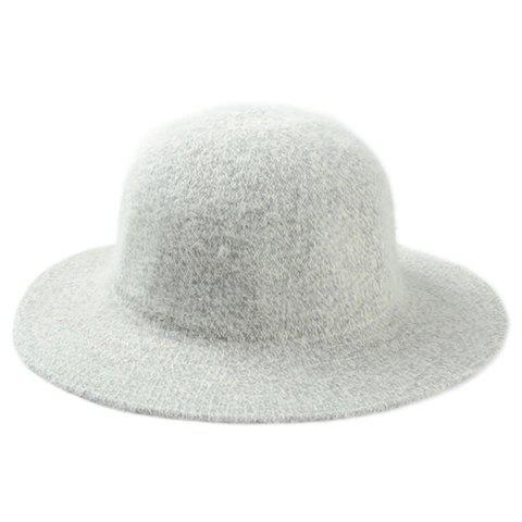 Chic Solid Color Round Top Faux Fur Women's Jazz Hat - LIGHT GRAY