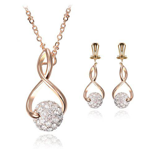 A Suit of Chic Rhinestoned Heart Shape Hollow Out Necklace and Earrings For Women - GOLDEN