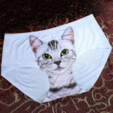 Stylish Mid-Waisted Cat Print Women's Briefs - WHITE ONE SIZE(FIT SIZE XS TO M)