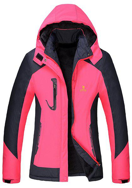 Stylish Thick Hooded Color Block Windproof Long Sleeve Skiing Jacket For Women - ROSE 3XL