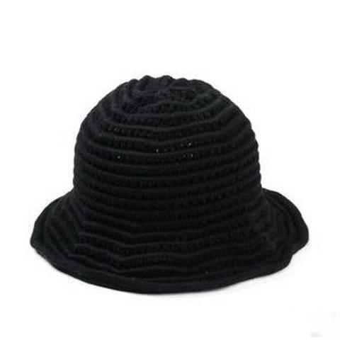 Chic Stripy Round Top Hollow Out Women's Knitted Bucket Hat - BLACK