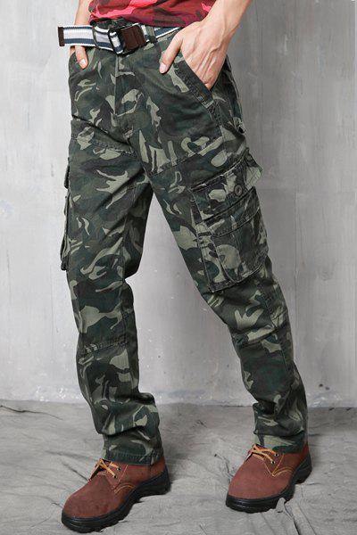 Zipper Fly Slimming Pockets Straight Leg Stylish Men's Camo Pants - ARMY GREEN 38