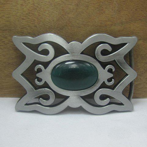 Fashion Artificial Opal Hollow Out Embellished Alloy Belt Buckle For Men -  SILVER GRAY