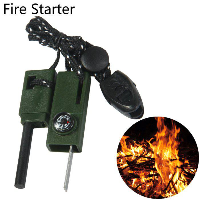 Multifunctional Fire Starter with Compass Whistle Ruler Functions 10a 5 in 1 multi purpose flashlight fire starter compass lanyard buckle