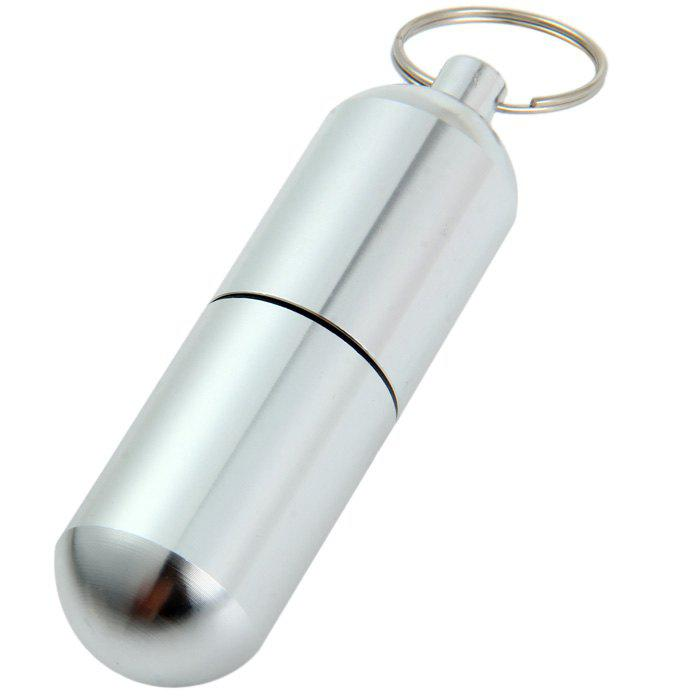 Pocket Size Aluminum Alloy Pill Box with Keychain Drug Holder