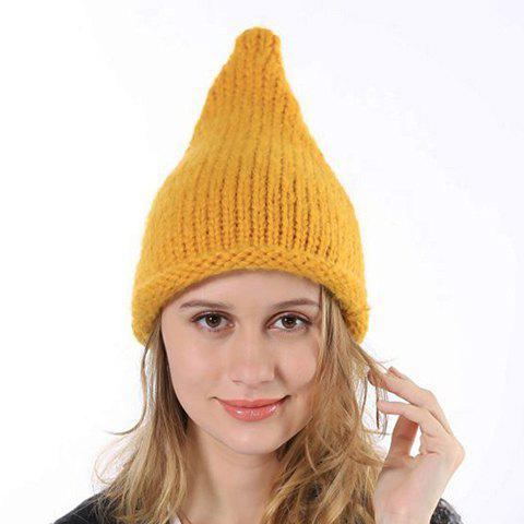 Chic Candy Color Edge Curl Steepled Top Knitted Beanie For Women