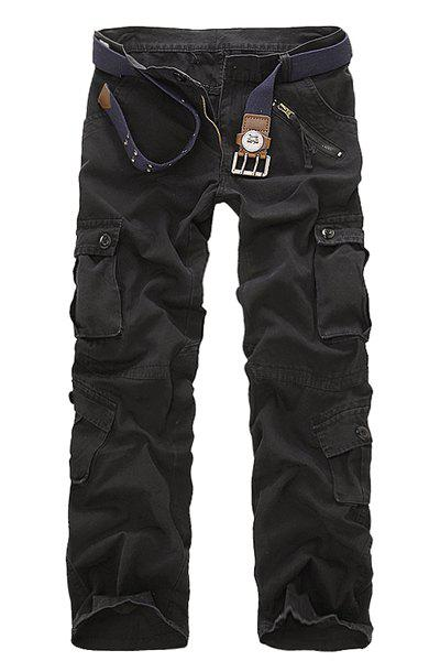 Multi Pockets Zipper Fly Military Cargo Pants - BLACK 34