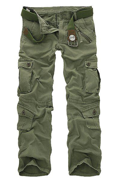 Multi Pockets Zipper Fly Military Cargo Pants - GRASS GREEN 29