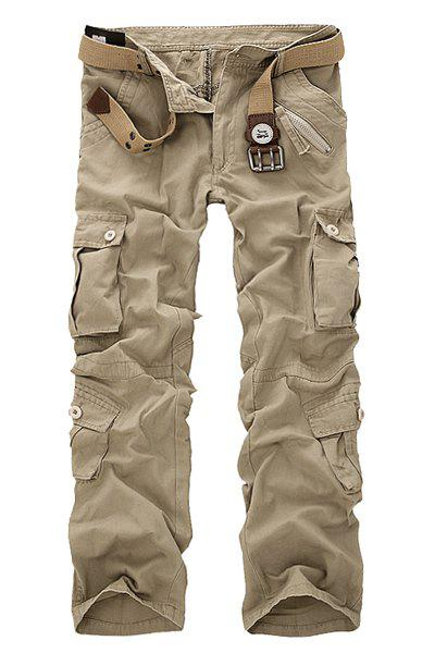 Multi Pockets Zipper Fly Military Cargo Pants - LIGHT KHAKI 31
