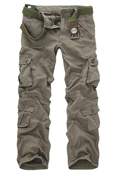Multi Pockets Zipper Fly Military Cargo Pants - SAGE GREEN 30