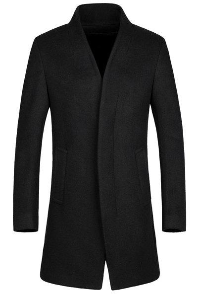 Laconic Stand Collar Multi-Button French Front Back Slit Long Sleeves Fitted Men's Woolen Blend Coat - BLACK M