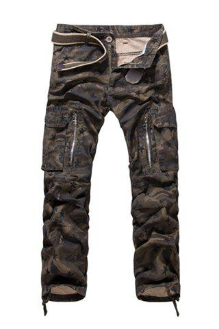 Loose-Fitting Zipper Fly Straight Leg Star Print Men's Camo Pants - ARMY GREEN 33