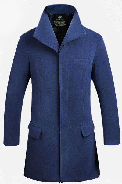 Flap Pocket Back Slit French Front Solid Color Design Lapel Long Sleeves Men's Fitted Woolen Blend Coat - CADETBLUE XL