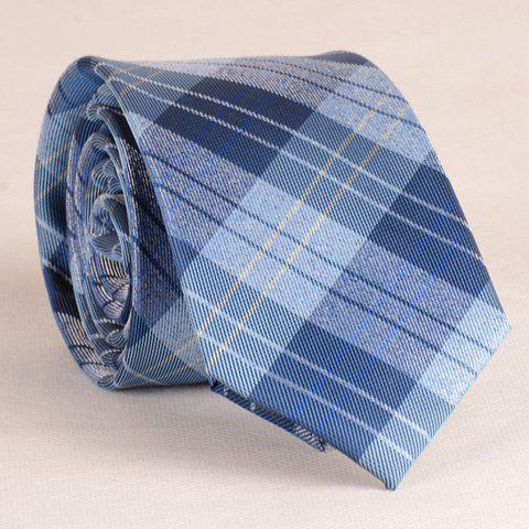 Stylish Stripe and Latticed Pattern 6.5CM Width Men's Blue Tie - BLUE
