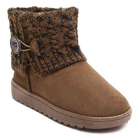 Stylish Plush and Button Design Snow Boots For Women - CAMEL 38
