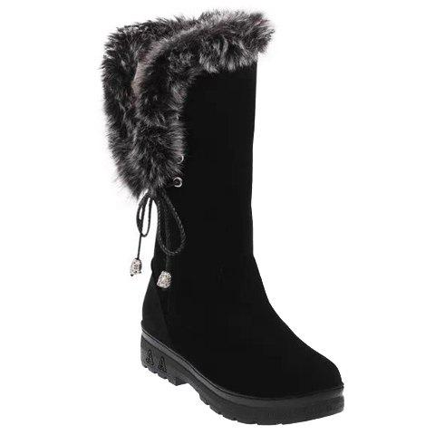 Stylish Faux Fur and Lace-Up Design Mid-Calf Boots For Women - BLACK 36