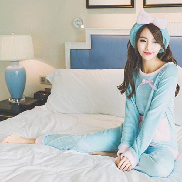 Sweet Round Neck Color Block Long Sleeve Sleepwear For Women - AZURE 2XL