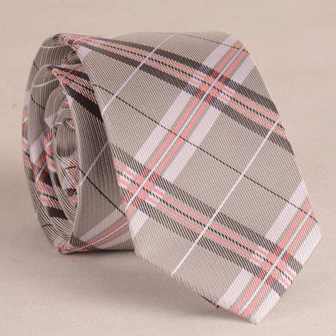 Stylish Stripe and Latticed Pattern 6.5CM Width Men's Grey Tie - GRAY