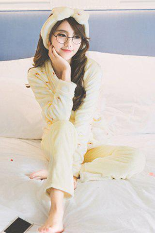 Cute Scoop Neck Polka Dot Print Long Sleeve Sleepwear For Women - LIGHT YELLOW M