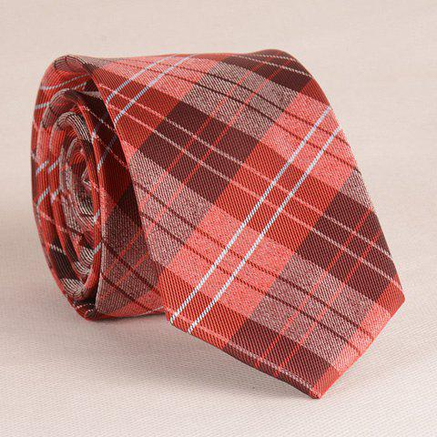 Stylish Plaid Pattern 6.5CM Width Various Red Tie For Men -  AS THE PICTURE