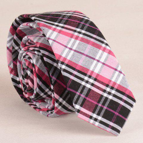 Stylish Plaid Pattern Pink Color Matching 5CM Width Men's Tie - CHECKED