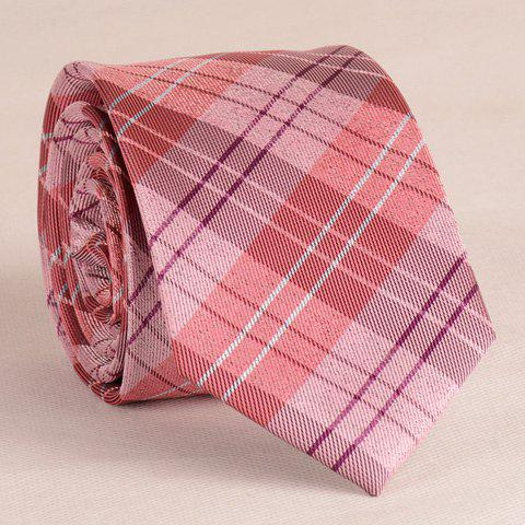 Stylish Stripe and Latticed Pattern 6.5CM Width Men's Red Tie - RED