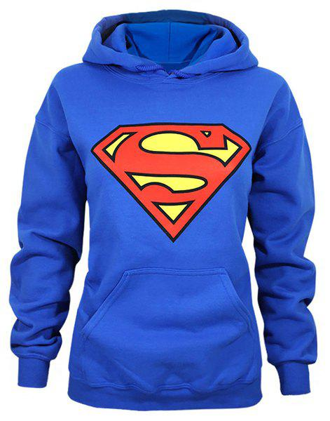 Stylish Long Sleeve Hooded Superman Shield Logo Women's Superhero Hoodie - BLUE 2XL