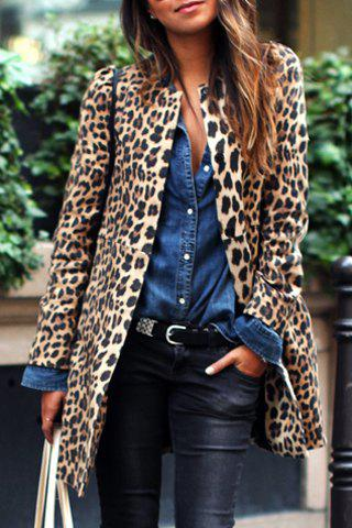 Chic Women's Jewel Neck Leopard Long Sleeve Coat - LEOPARD XL