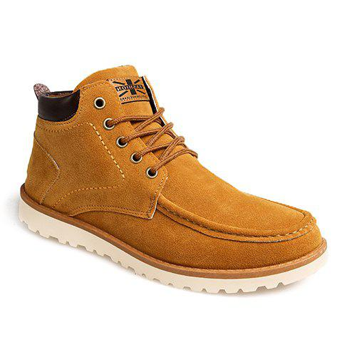 British Style Flag and Suede Design Casual Shoes For Men - BROWN 42