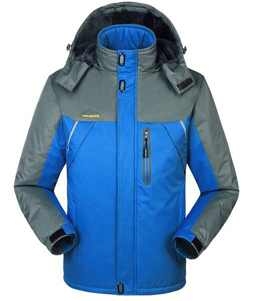Plus Size Hooded Multi-Zipper Color Spliced French Front Long Sleeves Flocky Men's Ski Jacket - BRIGHT BLUE XL