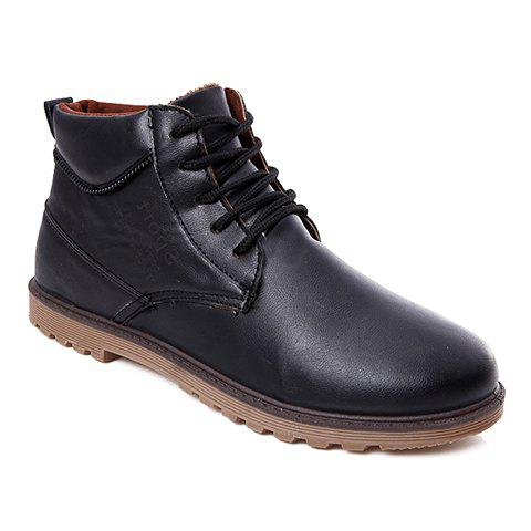 Concise Lace-Up and Letter Print Design Formal Shoes For Men - BLACK 43