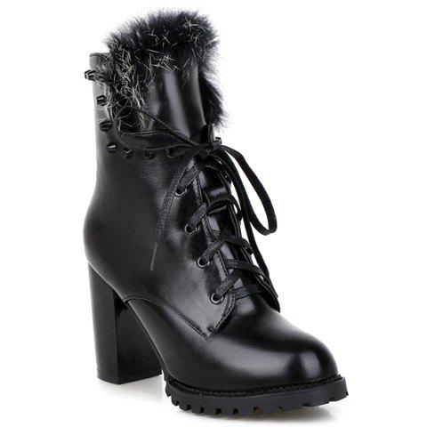 Fashion Rivets and PU Leather Design Short Boots For Women - BLACK 39