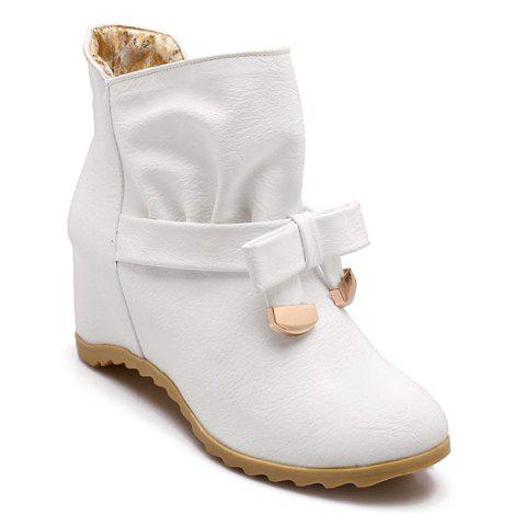 Sweet Bowknot and Ruffle Design Short Boots For Women - WHITE 37