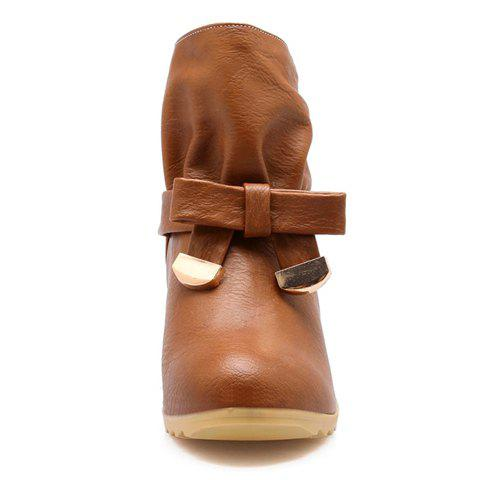 Sweet Bowknot and Ruffle Design Short Boots For Women - BROWN 34