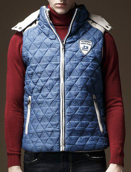 Argyle Badge Embellished Hooded Sleeveless Men's Cotton-Padded Waistcoat - DEEP BLUE L