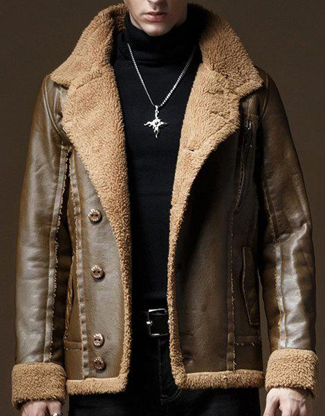 Flocking Turn-Down Collar Inclined Button Long Sleeve PU-Leather Men's Jacket - LIGHT BROWN L