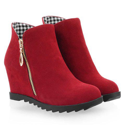 Trendy Pure Color and Zipper Design Short Boots For Women - RED 38