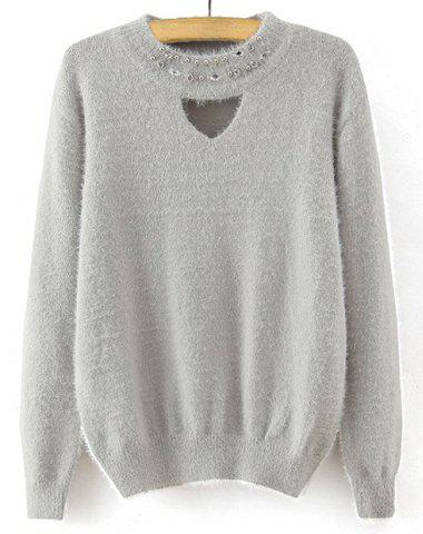 Trendy Women's Round Neck Long Sleeve Rhinestone Embellished Hollow Out Sweater - GRAY ONE SIZE(FIT SIZE XS TO M)