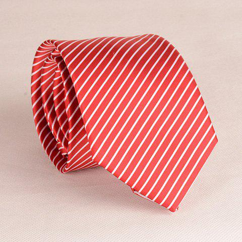 Stylish Whiter Slender Stripe Pattern 8CM Width Men's Red Tie - RED
