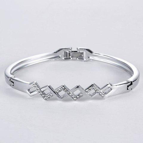 Rhinestone Hollow Out Rhombus Bracelet - SILVER