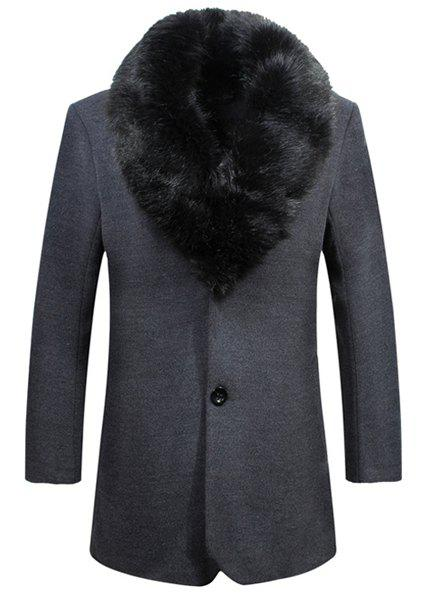 Laconic Detachable Fur Collar Back Slit Single Breasted Slimming Long Sleeves Men's Thicken Trench Coat - DEEP GRAY XL