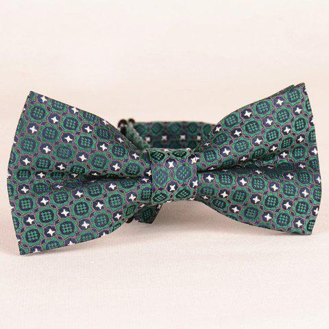 Stylish Button Jacquard Deep Green Bow Tie For Men