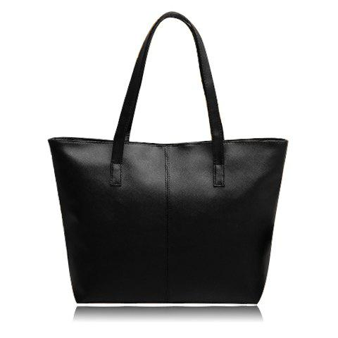 Simple Pure Color and PU Leather Design Shoulder Bag For Women - BLACK